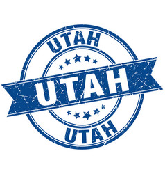 Utah blue round grunge vintage ribbon stamp vector