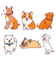 Various breeds cute dogs for clipart vector