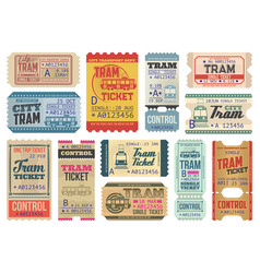 vintage tram tickets isolated templates set vector image