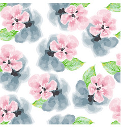 watercolor pink and blue flowers pattern vector image