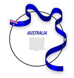 Waving ribbon flag australia on circle frame vector