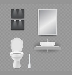 Wc room realistic toilet sink and mirror vector