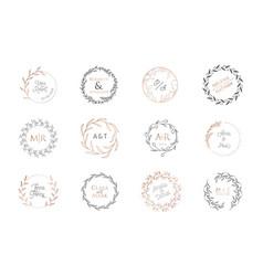 wedding wreaths monogram laurels logos vector image