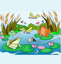 wetland landscape with animals for adults vector image