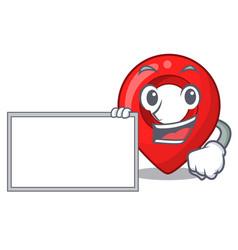 With board gps navigation pin on character cartoon vector