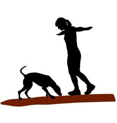 Woman and dog on log vector