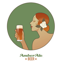 Woman holding a glass of beer amber ale vintage vector