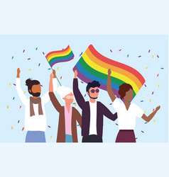 women and men community with rainbow flags to vector image