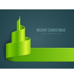 Christmas green tree from ribbon vector