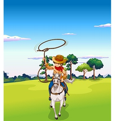 cowboy riding vector image vector image