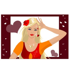 Girl with heart vector image vector image