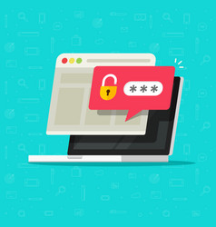 laptop computer with unlocked password bubble vector image vector image