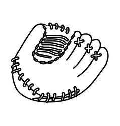 monochrome contour of baseball glove vector image vector image