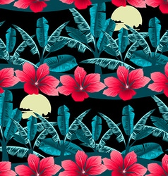 Tropical hibiscus and palm tree at night seamless vector image vector image