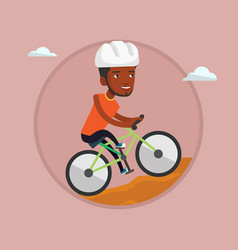young man on bicycle traveling in the mountains vector image