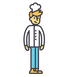 Cooker young bartender chef concept line vector