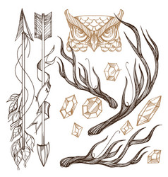 arrows antlers gems and owls head collection vector image vector image