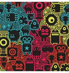 Robot and monsters cool seamless pattern vector image vector image