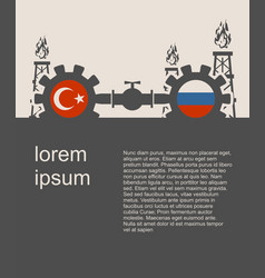russia and turkey flags on gears vector image