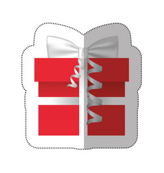 sticker colorful gift box with silver ribbon vector image vector image