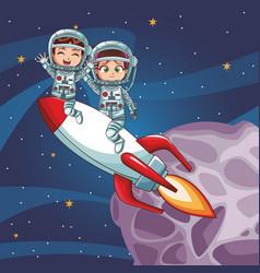 astronaut kids cartoon vector image
