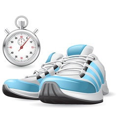running shoes and stopwatch vector image