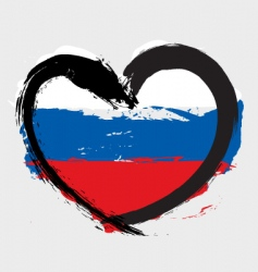 Russian heart shape flag vector image vector image