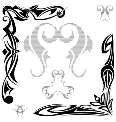 Set of black elements Tribal tattoo vector image
