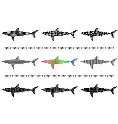 Shark silhouette mosaic set vector image