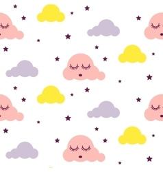 Sleepy clouds girlish seamless pattern vector