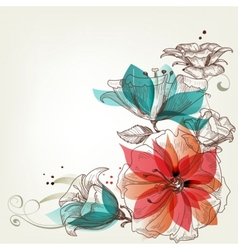 Vintage flowers background vector image