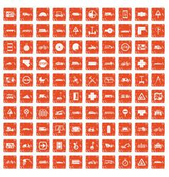 100 location icons set grunge orange vector