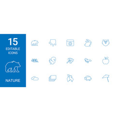 15 nature icons vector image