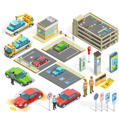 1611i201008pm003c23parking set isometric objects vector