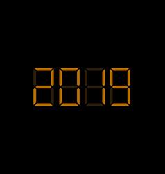 2019 digital numbers vector
