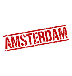 amsterdam red square stamp vector image