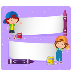 Banner template with boys and crayons vector