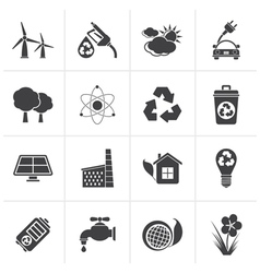 Black Ecology environment and recycling icons vector