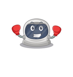 Boxing astronaut helmet with red gloves vector