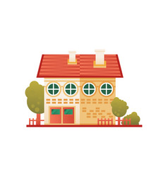 brick suburban private house front view vector image