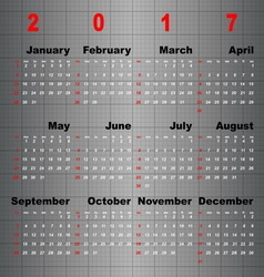 Business template of 2017 calendar on grey table vector