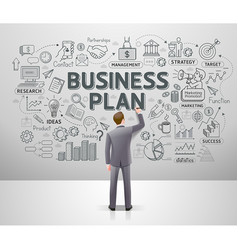 businessman drawing business idea doodles on wall vector image