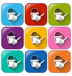 Buttons with a pail and a fork vector image