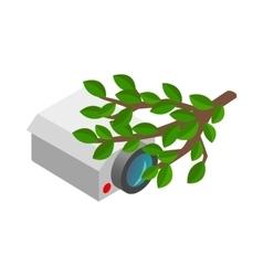 Camera hidden in bushes icon vector