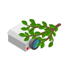 Camera hidden in the bushes icon vector image
