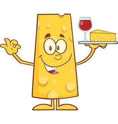 Cheese Cartoon Serving Wine vector