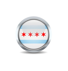 Chicago circle button flag vector