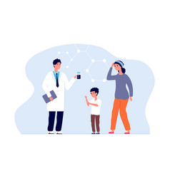 Child itchy skin frightened mom doctor and sick vector
