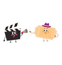 Cinema production clapperboard movie ticket vector