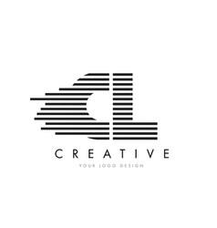 Cl c l zebra letter logo design with black and vector